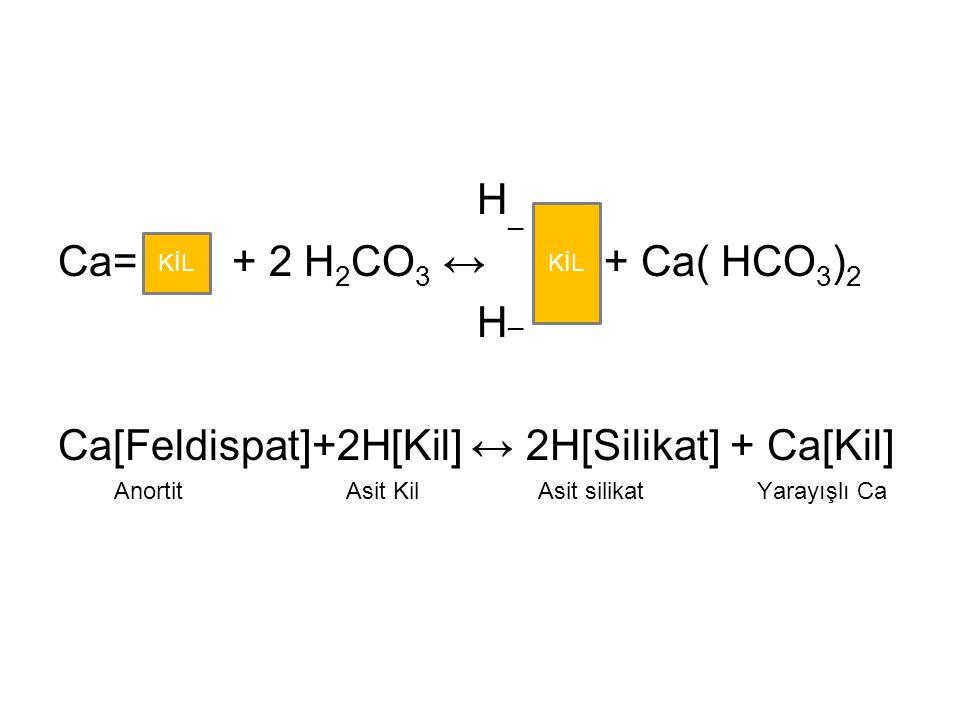 Ca[Feldispat]+2H[Kil] ↔ 2H[Silikat] + Ca[Kil]